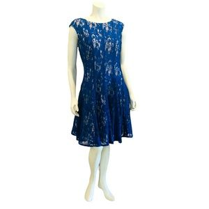 Blue Lace Fit and Flare Dress
